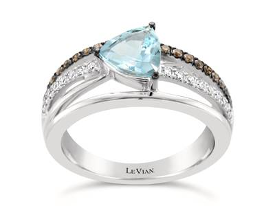 14K Vanilla Gold® Sea Blue Aquamarine® 3/4 cts. Ring with Chocolate Diamonds® 1/6 cts., Vanilla Diamonds® 1/8 cts. | WJBE 15